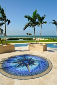 Sunset Point - Compass Rose pool deck inlay